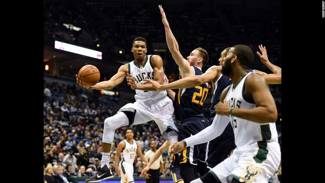 Milwaukee star Giannis Antetokounmpo eludes Utah defenders during an NBA game in Milwaukee on Friday, February 24.