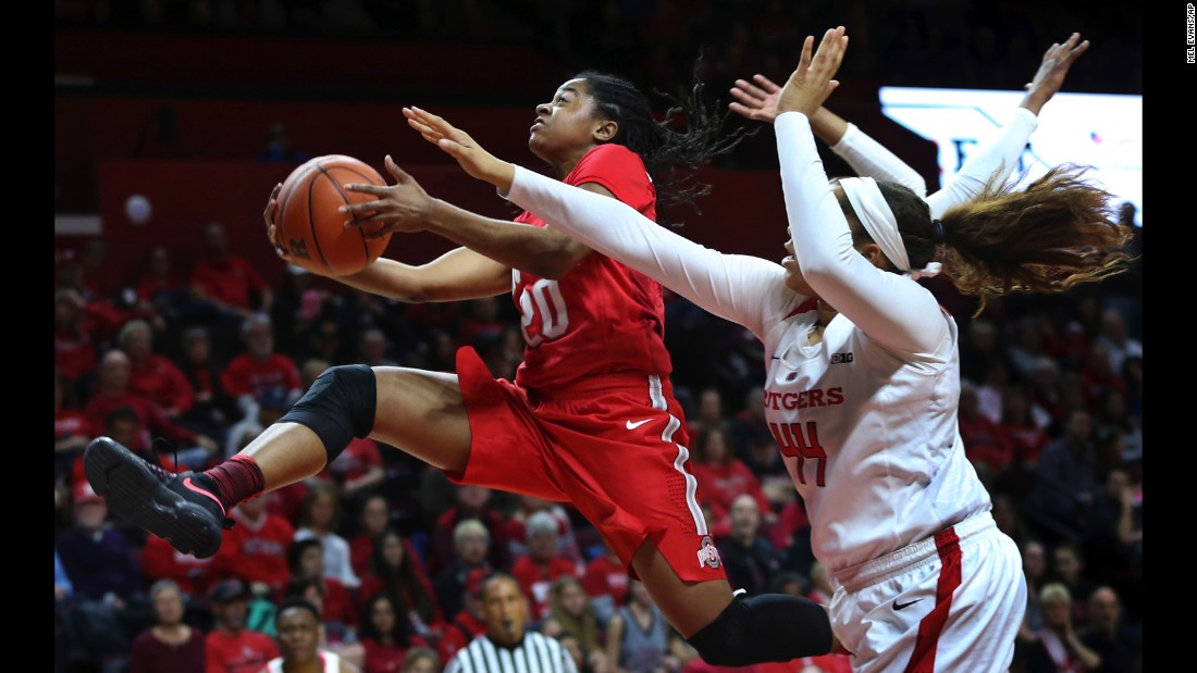 Ohio State guard Asia Doss drives to the basket during a Big Ten game at Rutgers on Sunday, February 26.