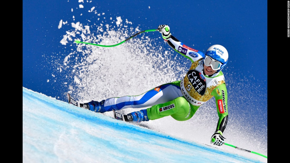 Slovenian skier Ilka Stuhec makes a turn during a World Cup super-G race in Crans-Montana, Switzerland, on Saturday, February 25. She finished in first place.