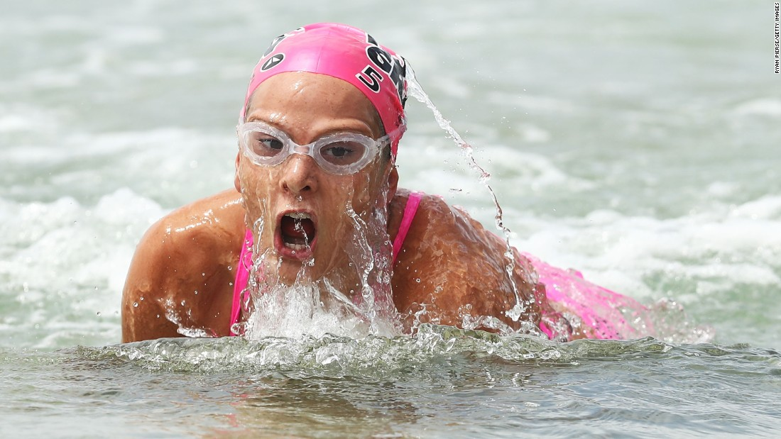 Lizzie Welborn swims during an Ironman triathlon in Sydney on Friday, February 24.
