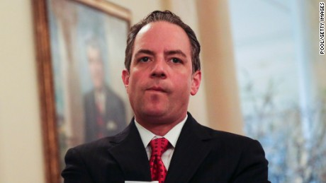 White House Chief of Staff Reince Priebus stands as President Donald Trump speaks during the National Governors Association meeting in the State Dining Room of the White House, February 27, 2017 in Washington, DC.
