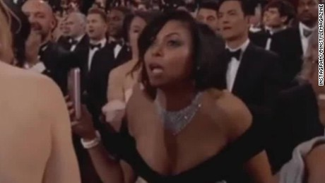 Taraji P. Henson reacts to the Oscar flub.