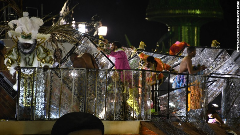 The float of the Unidos da Tijuca samba school collapses during the second night of Rio's Carnival at the Sambadrome in Rio de Janeiro, Brazil, on February 28, 2017.