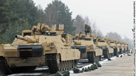 ZAGAN, Poland -- M1A2 Abrams tanks belonging to 4th Infantry Division that have been loaded onto a flatcar railway Jan. 25, 2017. (U.S. Army photo by Staff Sgt. Corinna Baltos)