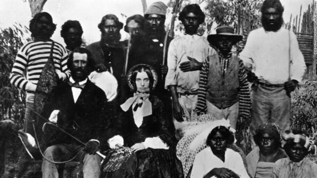 This photo of European settlers surrounded by Aboriginals is believed to be the earliest photograph taken in Australia.