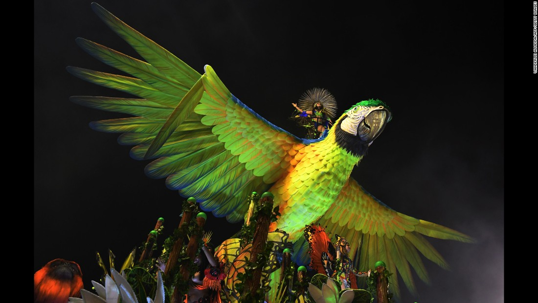 <strong>Rio de Janeiro, Brazil: </strong>Founded in the Rio suburb of Ramos in 1956, the  Imperatriz Leopoldinense samba school perform at Rio's Sambadrome on February 27.