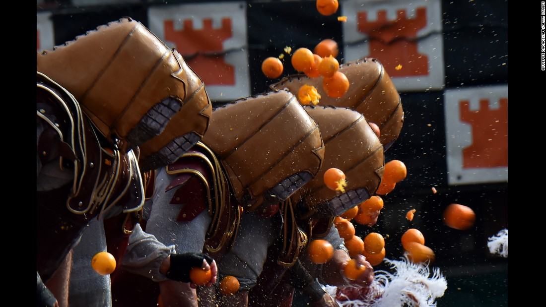 "<strong>Ivrea, Italy: </strong>Italy's largest food fight gets underway in the northern town of Ivrea. The origins of the ""battle of the oranges"" are unclear, but one popular interpretation has it that it commemorates the people's rebellion against tyrannical rulers in the Middle Ages."