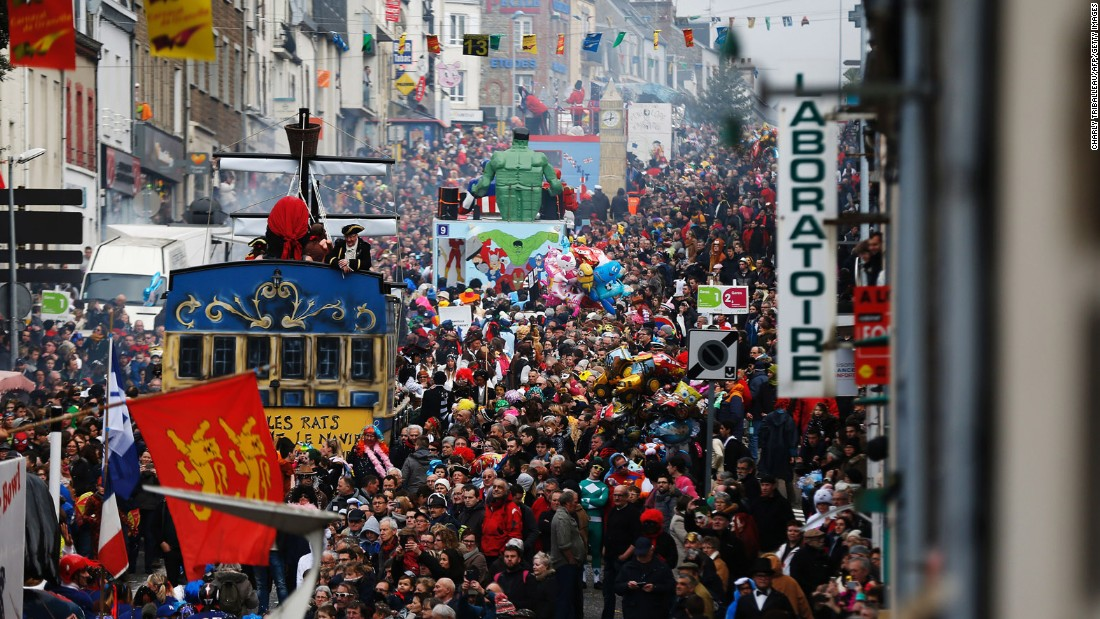 "<strong>Granville, France:</strong> An estimated 2,500 ""carnivalists"" spend around six months creating the floats for Granville's annual festivities."