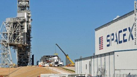 Space X's Falcon 9 rocket is prepared for a launch to the International Space Station February 17, 2017 at the Kennedy Space Center, Florida on LC39A, one of the renovated Space Shuttle launch pads that SpaceX leases from NASA.   The Falcon 9 with a Dragon spacecraft is scheduled to be launched February 18.            / AFP / BRUCE WEAVER        (Photo credit should read BRUCE WEAVER/AFP/Getty Images)