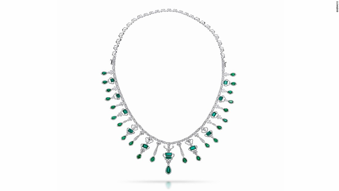 "Another view of the ""Conquistadora,"" created by Manuel Marcial de Gomar from 889 brilliant diamonds and 35 Colombian emeralds."