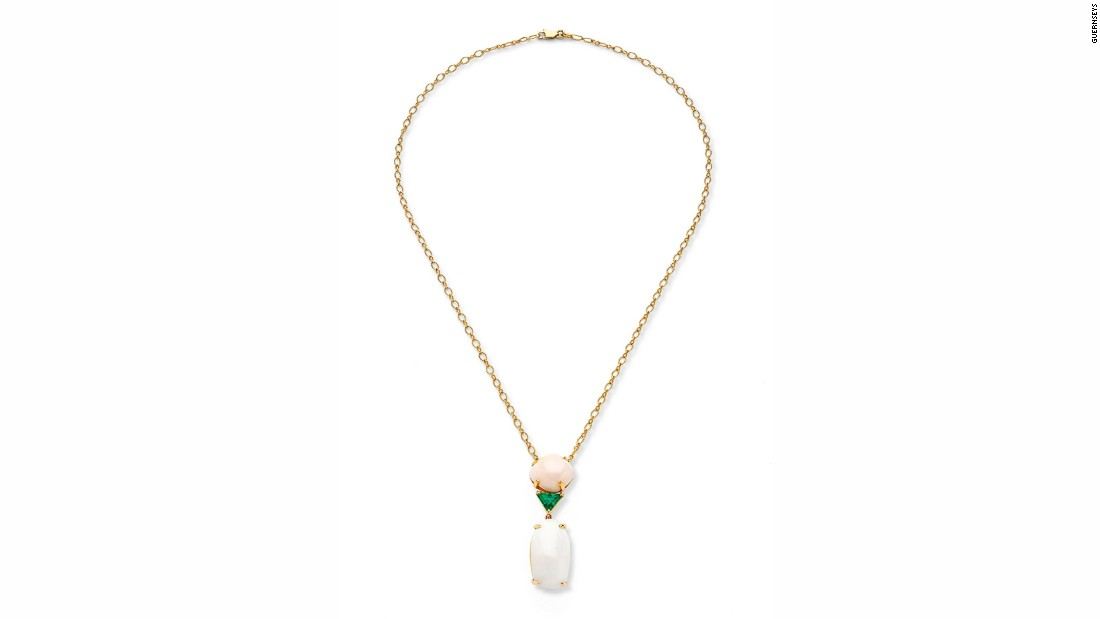 This necklace combines two of Marcial de Gomar's passions: two large conch pearls and a trillion-cut emerald. The design was inspired by his wife, Inge.