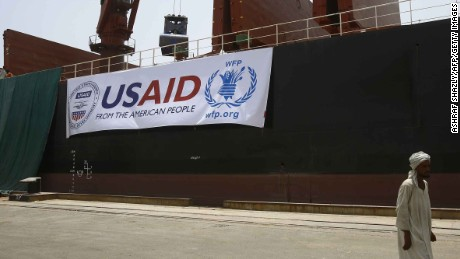 The US vessel Liberty Grace, hired by the World Food Program (WFP), is seen docked at Port Sudan on May 26, 2015, to deliver 47,500 metric tons of sorghum from USAID that is due to be given to people in Sudan's conflict-affected areas, including Darfur. Nearly 50,000 tonnes of US food aid bound for areas of Sudan affected by conflict arrived in the country, the UN World Food Programme said. AFP PHOTO/ASHRAF SHAZLY        (Photo credit should read ASHRAF SHAZLY/AFP/Getty Images)