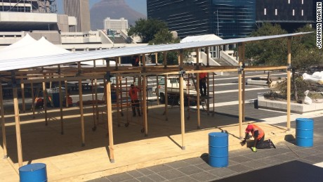 Constructing 'Ikea House' outside the Design Indaba conference site in Cape Town.