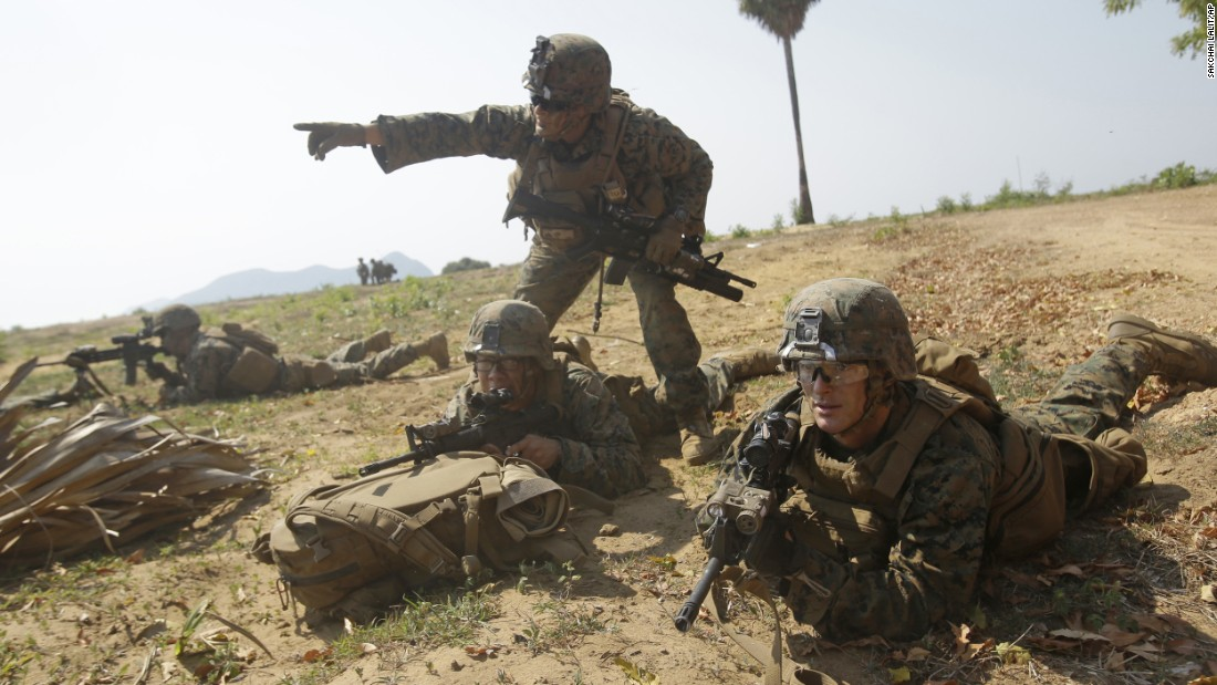 US troops secure the beachhead during a training exercise in eastern Thailand on Friday, February 17. Thirty other countries participated in the annual exercise, which is called Cobra Gold.