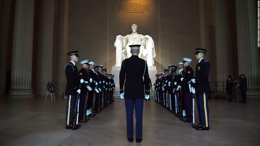 Members of a ceremonial honor guard rehearse for a wreath-laying ceremony at the Lincoln Memorial in Washington on Sunday, February 12. It was Abraham Lincoln's birthday.
