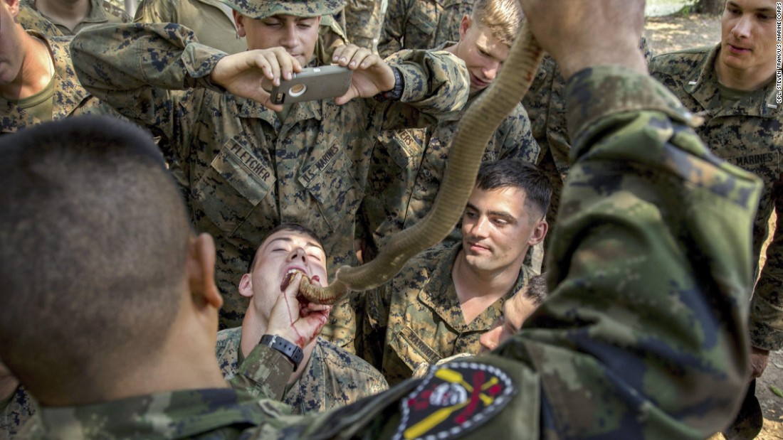 A US Marine drinks cobra blood during the Cobra Gold training exercise in Thailand on Friday, February 17. Royal Thai Marines demonstrated various methods of surviving in the jungle. Cobra blood and flesh are used as nutrition in a scenario where sustenance is scarce.
