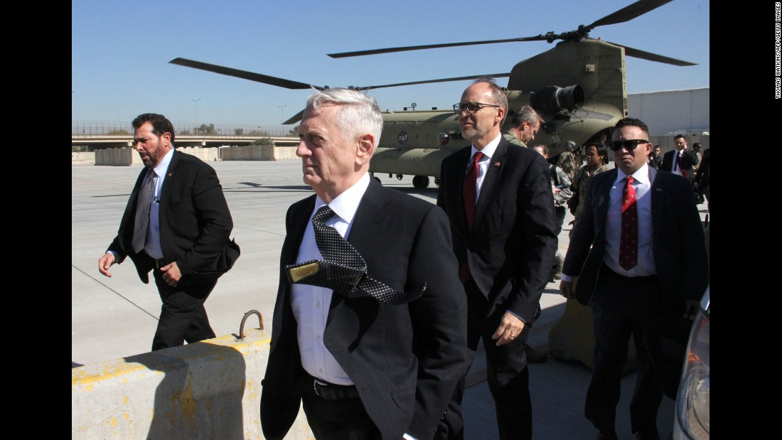 "US Defense Secretary James Mattis, second from left, arrives in Baghdad, Iraq, on Monday, February 20. Mattis told reporters that he was <a href=""http://www.cnn.com/2017/02/20/politics/mattis-baghdad-visit/"" target=""_blank"">heading to Baghdad</a> ""because I need to get current on the situation there, the political situation, the enemy situation and the friendly situation."" Mattis said he wanted to speak with the Iraqi political leadership and US partners."