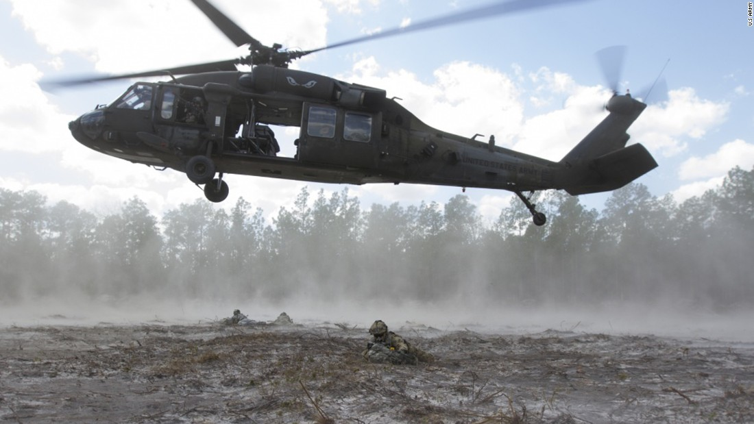 US soldiers practice an air assault in Fort Stewart, Georgia, on Friday, February 24.