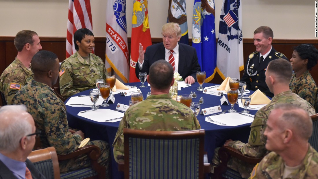 President Trump has lunch with troops Monday, February 6, during a visit to US Central Command, which is headquartered at MacDill Air Force Base in Tampa, Florida.
