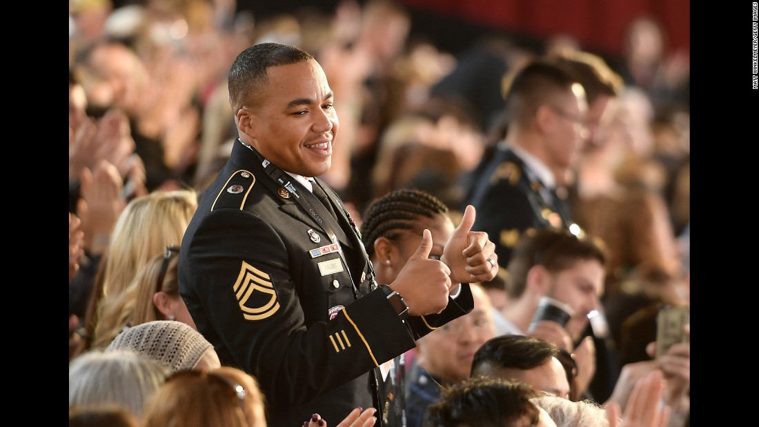 "A US service member attends the <a href=""http://www.cnn.com/2017/02/26/entertainment/gallery/oscars-2017-show-and-winners/index.html"" target=""_blank"">Academy Awards</a> in Hollywood on Sunday, February 26."
