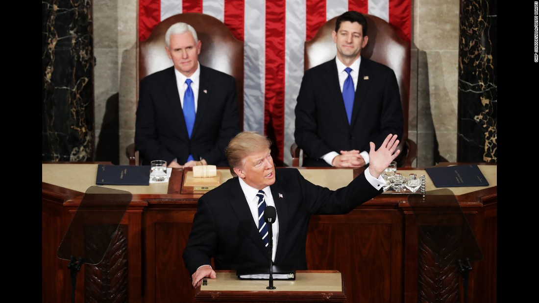 US President Donald Trump addresses a joint session of Congress for the first time on Tuesday, February 28. Behind him, from left, are Vice President Mike Pence and House Speaker Paul Ryan.