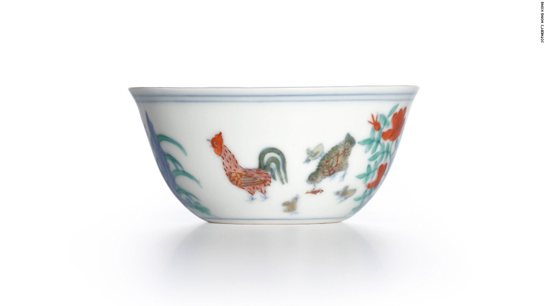 "This rare 15th-century Meiyintang ""chicken cup,"" still holds the world auction record for Chinese porcelain. It <a href=""http://edition.cnn.com/2014/04/09/world/asia/sothebys-record-sale-chinese-porcelain/"">sold for more than $36 million (HK$281,240,000) at a Sotheby's Hong Kong auction</a> in 2014."