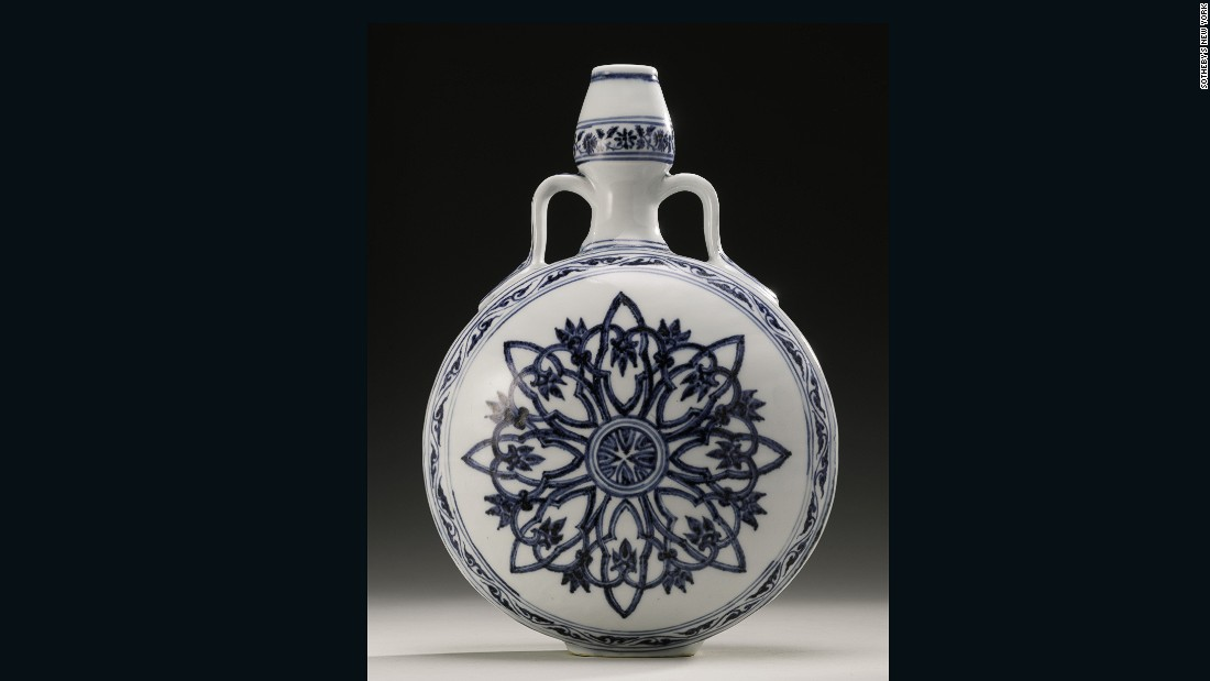 This piece was used as a doorstop in a family's Long Island, New York, home in the US for decades and only came to light when the owners saw a similar piece in a Sotheby's advertisement. It subsequently sold for US$1,314,500 at a Sotheby's New York auction in 2012.