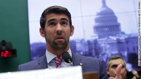 Retired American swimmer Michael Phelps testifies during a hearing before the Oversight and Investigations Subcommittee of House Energy and Commerce Committee