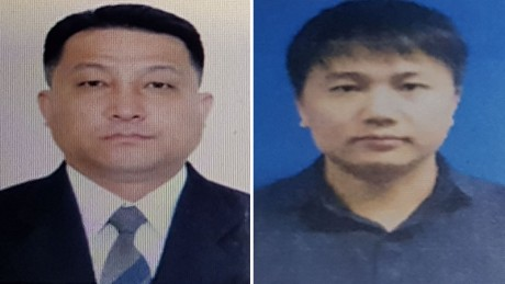 Hyon Kwang Song, left, is an embassy official, and Kim Uk Il works for North Korean airline Air Koryo.
