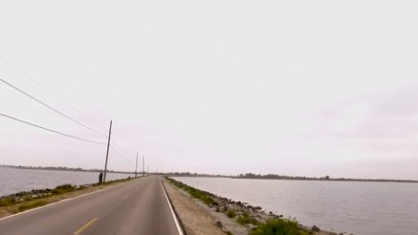The Island Road in Isle de Jean Charles, Louisiana