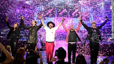 "Singers Howie Dorough, Kevin Richardson, AJ McLean, Brian Littrell and Nick Carter of the Backstreet Boys perform during the launch of the group's residency ""Larger Than Life"" at The Axis at Planet Hollywood Resort & Casino on March 1, 2017 in Las Vegas, Nevada."