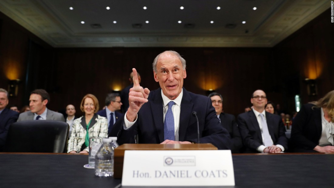 "Coats speaks on Capitol Hill before his confirmation hearing in February. <a href=""http://www.cnn.com/2017/01/05/politics/dan-coats-picked-to-be-director-of-national-intelligence/"" target=""_blank"">The former US senator from Indiana</a> was the US ambassador to Germany in the first term of George W. Bush's administration."