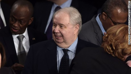 Russian Ambassador to the US Sergey Kislyak (C) arrives before US President Donald Trump addresses a joint session of the US Congress on February 28, 2017, in Washington, DC. / AFP / Brendan SMIALOWSKI        (Photo credit should read BRENDAN SMIALOWSKI/AFP/Getty Images)