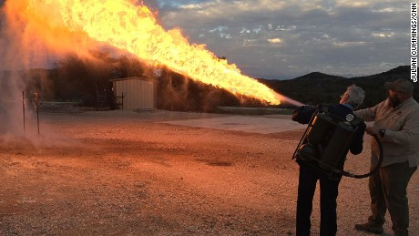 Guests pay up to $8,000 for tank driving, shooting and using a flamethrower.