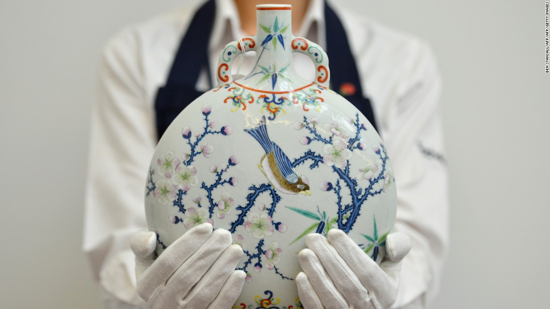 This rare polychrome-enameled moonflask sold for more than $1.2 million (GBP1,049,250) at a 2012 Sotheby's auction in London.