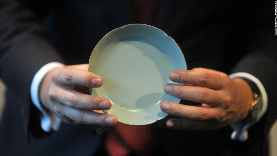 This rare Chinese porcelain Ru <em>guanyao</em> brush washer dish from the Northern Song Dynasty (960 to 1127) sold for $26.7 million (HK$207,860,000) at a Sotheby's 2012 auction in Hong Kong, a record price for Song ceramics.