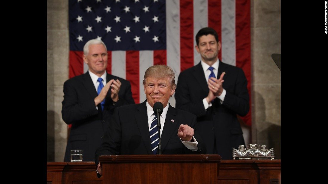 "US President Donald Trump <a href=""http://www.cnn.com/2017/02/28/politics/gallery/trump-joint-address-congress/index.html"" target=""_blank"">addresses a joint session of Congress</a> for the first time on Tuesday, February 28. Behind him, from left, are Vice President Mike Pence and House Speaker Paul Ryan."