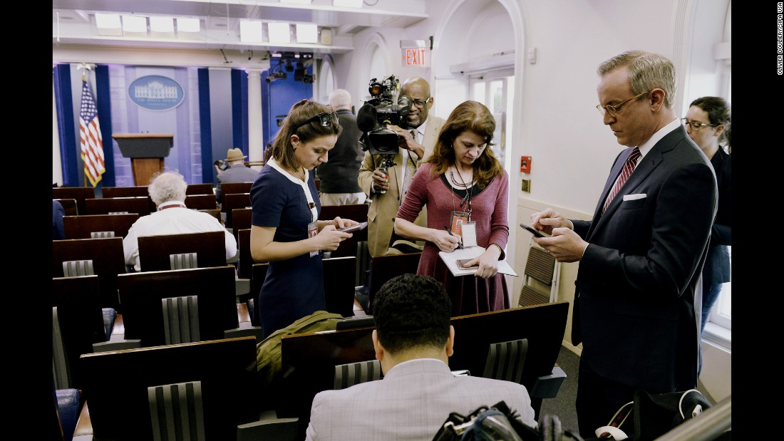 "Reporters stand in the White House briefing room after being <a href=""http://money.cnn.com/2017/02/24/media/cnn-blocked-white-house-gaggle/"" target=""_blank"">excluded from an off-camera gaggle</a> on Friday, February 24. CNN, The New York Times, the Los Angeles Times, Politico, BuzzFeed, the BBC and the Guardian were among those excluded from the meeting, which was held in the office of White House press secretary Sean Spicer. The decision struck veteran White House journalists as unprecedented in the modern era."