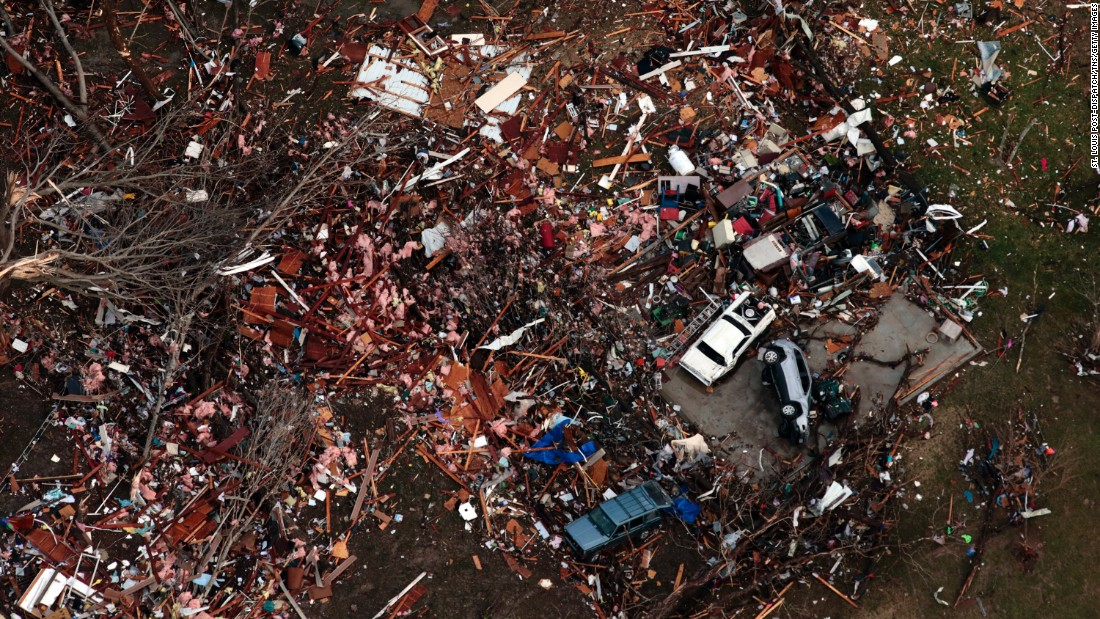 "Debris marks the site of a home that was hit by a tornado in Perryville, Missouri, on Tuesday, February 28. The tornado <a href=""http://www.cnn.com/2017/03/01/weather/severe-weather-midwest/"" target=""_blank"">had a 13-mile path</a> and destroyed many houses in the city, leaving about 60 families who have ""lost about everything,"" Mayor Ken Baer said."