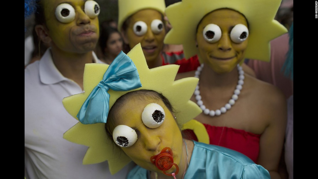 "Carnival revelers wear ""Simpsons"" costumes during a street party in Rio de Janeiro on Saturday, February 25."