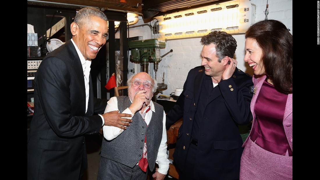 "Former US President Barack Obama, left, chats backstage with actors Danny DeVito, Mark Ruffalo and Jessica Hecht at the Broadway production of Arthur Miller's ""The Price"" on Friday, February 24."