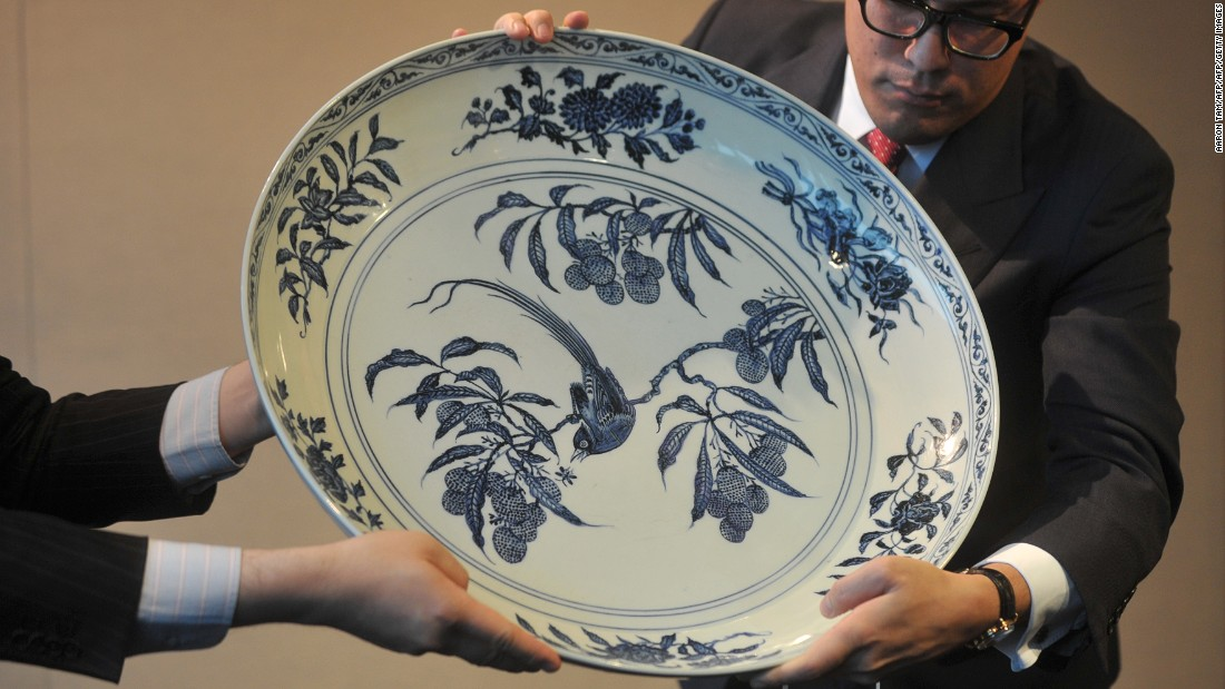 "This blue-and-white Ming dynasty ""Bird"" Charger dish was expected to fetch between $6.4 million to $10.3 million in a Sotheby's 2012 Hong Kong auction but failed to find a buyer."