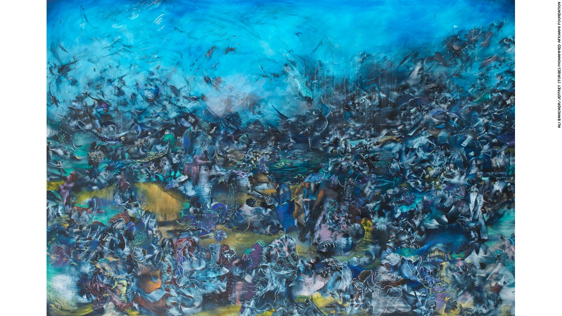 Ali Banisadr was born in Tehran, but moved to San Diego with his family when he was 12. His work blurs the line between the abstract and figurative.