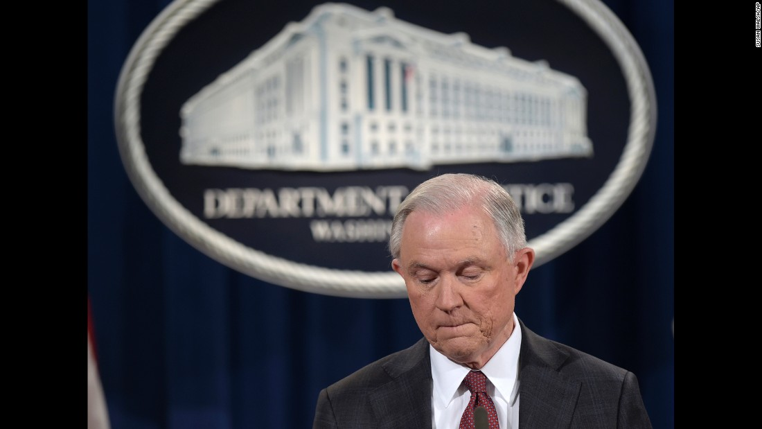 "US Attorney General Jeff Sessions pauses during a news conference in Washington on Thursday, March 2. In a statement, Sessions <a href=""http://www.cnn.com/2017/03/02/politics/democrats-sessions-russia-resignation-call/index.html"" target=""_blank"">recused himself</a> from any investigation related to President Trump's 2016 campaign. He made the decision after it emerged that he had failed at his Senate confirmation hearing to disclose two pre-election meetings with Moscow's ambassador to Washington. Sessions spokeswoman Sarah Isgur Flores said there was nothing ""misleading about his answer"" to Congress because the Alabama Republican ""was asked during the hearing about communications between Russia and the Trump campaign -- not about meetings he took as a senator and a member of the Armed Services Committee."" She said Sessions had more than 25 conversations with foreign ambassadors last year."