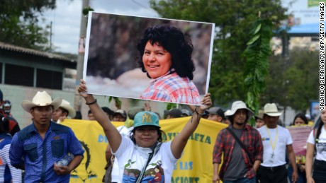 Activists protest demanding justice in the case of the murder of indigenous enviromentalist Berta Caceres in the first anniversary of her demise, in Tegucigalpa, on March 1, 2017.  / AFP PHOTO / ORLANDO SIERRA        (Photo credit should read ORLANDO SIERRA/AFP/Getty Images)