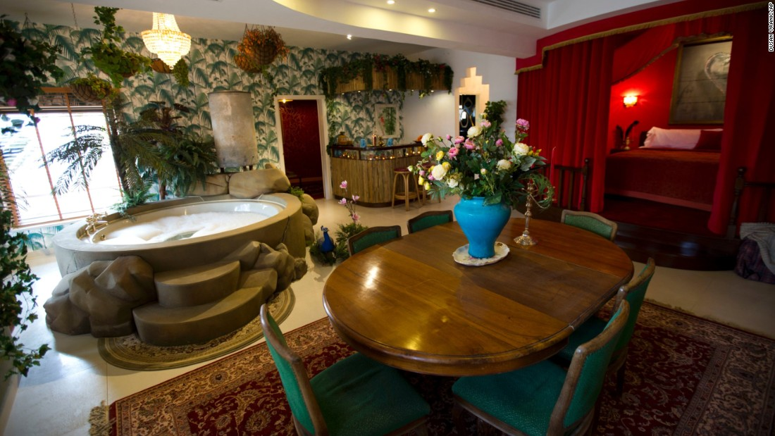 "The presidential suite sleeps up to six people and has on display a ""bullet riddled water tank"" feature."