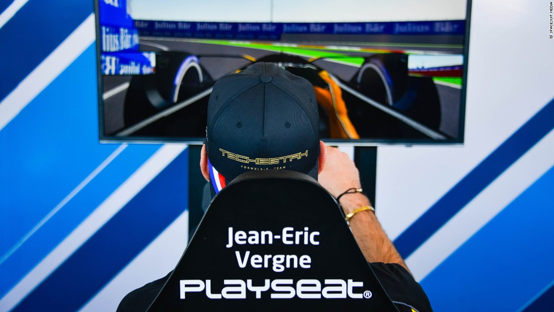 Techeetah driver Jean-Eric Vergne practices his e-gaming skills in the Marrakech eVillage.