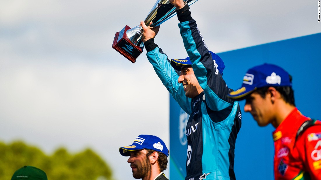 Buemi celebrates victory on the podium in Buenos Aires with Jean-Eric Vergne (left) coming home second. Di Grassi (right) was third. The Swiss' third victory of the season meant he opened up a 29-point lead over di Grassi ahead of April's Mexico ePrix.
