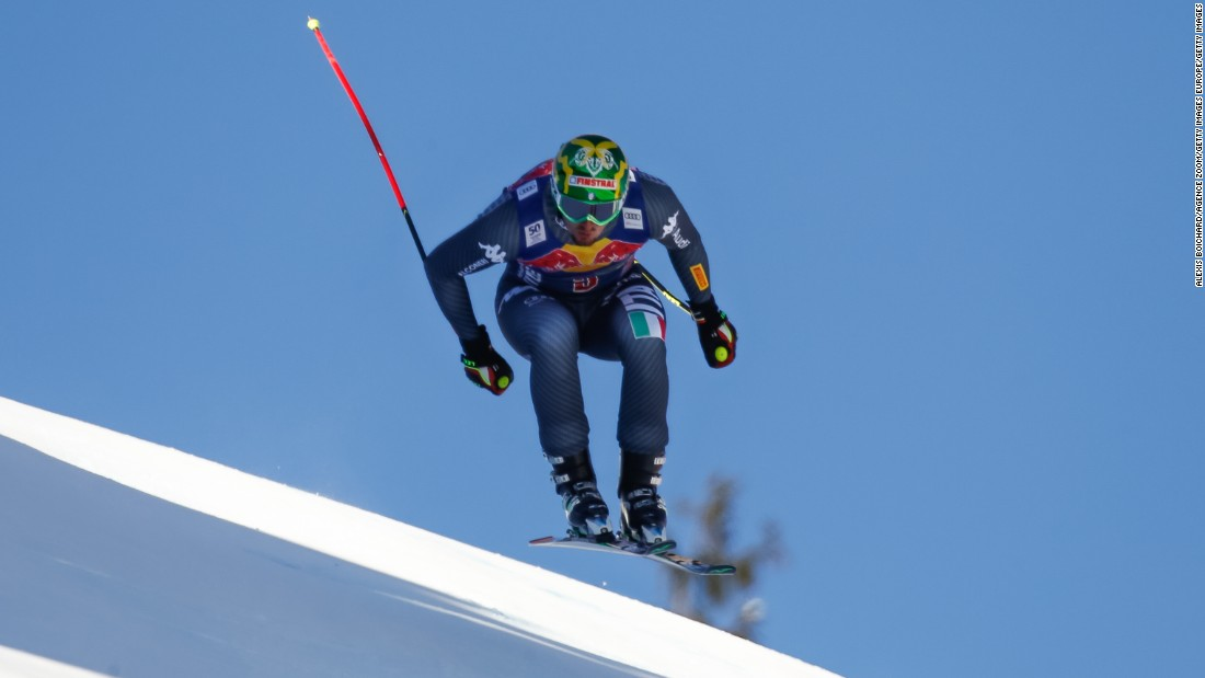 Dominik Paris of Italy is pictured on his way to victory in the men's downhill in Kitzbuehel, Austria.