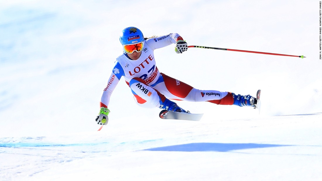 Jasmine Flury of Switzerland is momentarily air-bound at Jeongseon, where she finished 21st.